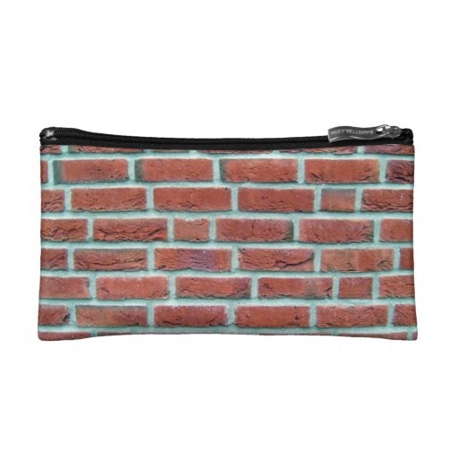 Red Brick Wall With White Line Pattern Cosmetic Bags