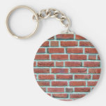 Red Brick Wall With White Line Pattern Key Chain