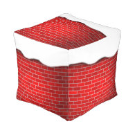 Red Brick with Snow Drift - Snowy Top Cube Pouf