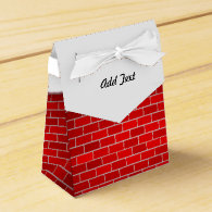 Red Brick with Snow Drift - Snowy Top Party Favor Boxes
