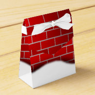 Red Brick with Snow Drift - Snowy Top Party Favor Box