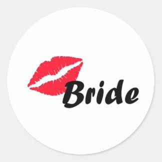 Red bride lips classic round sticker