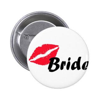 Red bride lips pinback button