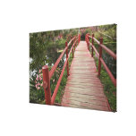 Red bridge over pond, Magnolia Plantation, Gallery Wrapped Canvas