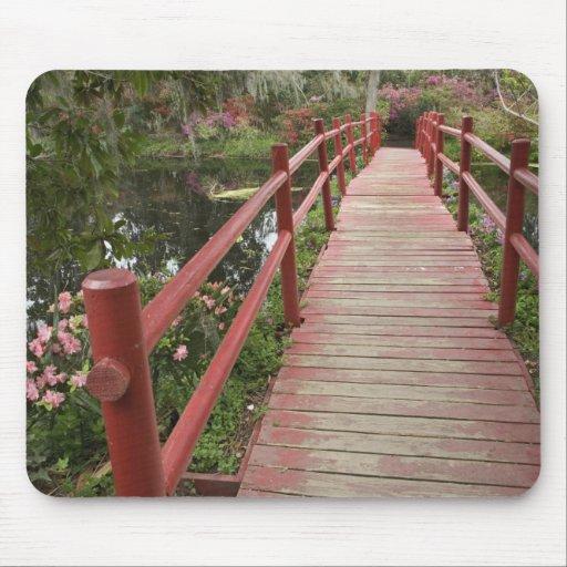 Red bridge over pond, Magnolia Plantation, Mouse Pad