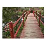 Red bridge over pond, Magnolia Plantation, Postcard
