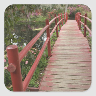 Red bridge over pond, Magnolia Plantation, Square Sticker