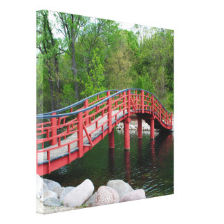 Red Bridge Over Water Canvas Print