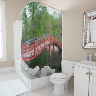 Red Bridge Over Water Shower Curtain