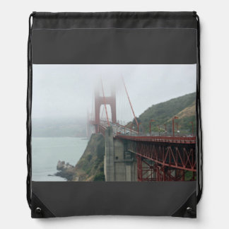 Red bridge with cars backpack