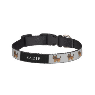 Red Brindle Cairn Terrier Cartoon Dogs & Name Pet Collar