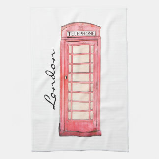 Red British phone booth - kitchen towel