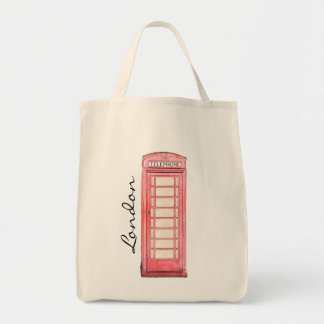 Red British phone booth - London tote Grocery Tote Bag