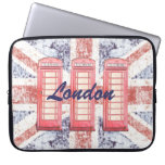 Red British phone booth on Union Jack background Laptop Computer Sleeve