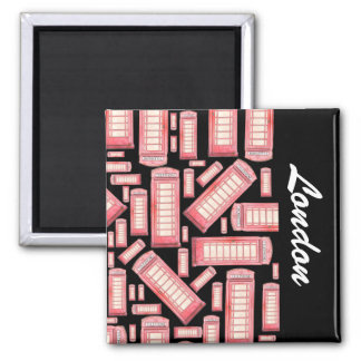 Red British phone booth pattern - London 2 Inch Square Magnet