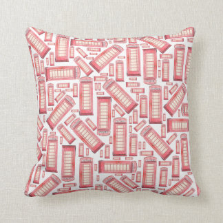 Red British phone booth pattern pillow