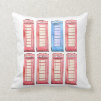 Red British phone booth toss pillow