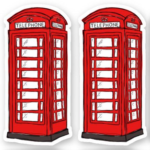 Red British phone box booths Sticker