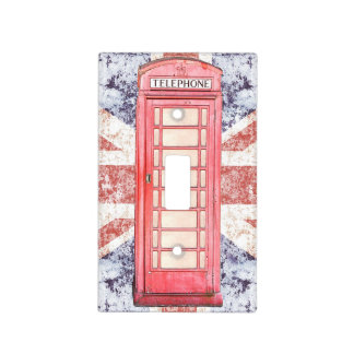 red british phone box on Union Jack Light Switch Cover