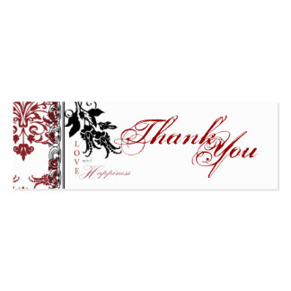 Red Brocade TY Skinny Gift Tag Double-Sided Mini Business Cards (Pack Of 20)