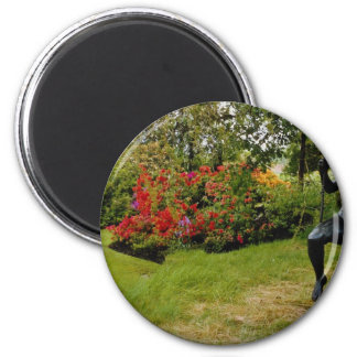 Red Bronze statue in English country garden, Engla 2 Inch Round Magnet