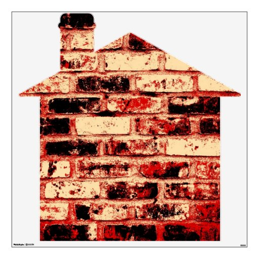 Red Brown and Black Brick House Wall Decals