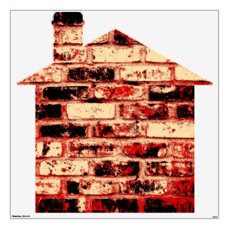 Red Brown and Black Brick House Wall Sticker
