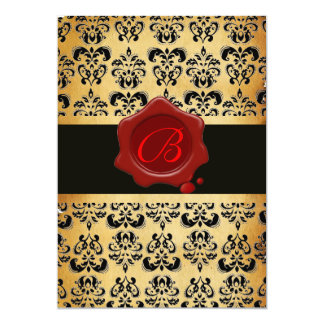 RED BROWN AND BLACK DAMASK ,WAX SEAL MONOGRAM 5X7 PAPER INVITATION CARD