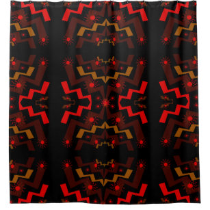 Red Brown And Black Lightning Suns Shower Curtain