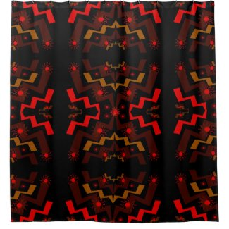 Red, Brown and Black Lightning Suns Shower Curtain