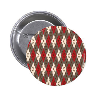 Red, Brown and Cream Argyle Pin
