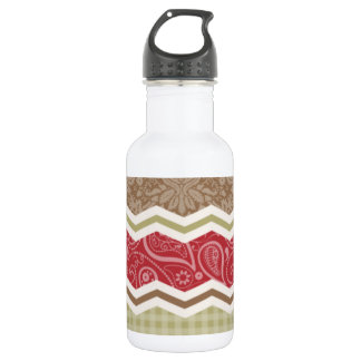 Red, Brown, and Khaki Country Patterns Water Bottle