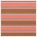 [ Thumbnail: Red, Brown, and Light Sky Blue Lined Pattern Fabric ]
