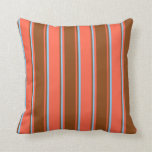 [ Thumbnail: Red, Brown, and Light Sky Blue Lined Pattern Throw Pillow ]