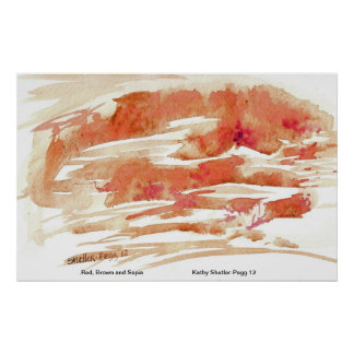 Red, Brown and Sepia abstract watercolor painting Poster