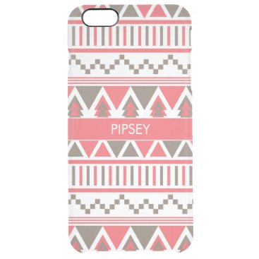 Aztec Themed Red Brown Aztec Tribal Custom Name Clear iPhone 6 Plus Case