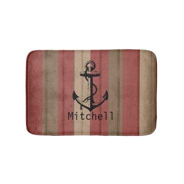Beach Themed Red & Brown Beach Wood Nautical Stripes & Anchor Bathroom Mat