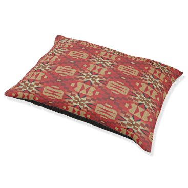 Aztec Themed Red Brown Beige Orange Eclectic Ethnic Art Pet Bed