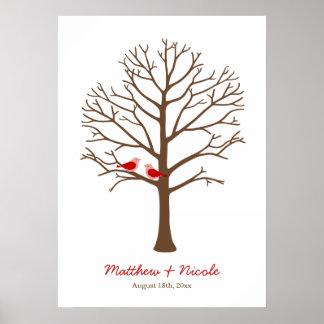 Red Brown Birds Fingerprint Tree Wedding Poster