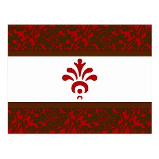 Red & Brown Brocade rsvp Postcard