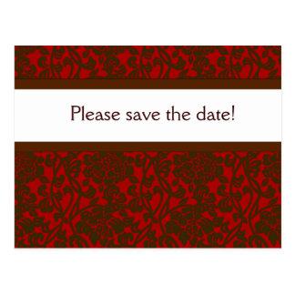 Red & Brown Brocade Save Date Postcard
