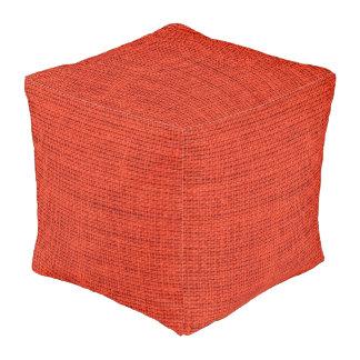 Red Brown Burlap Linen Rustic Jute Cube Pouf