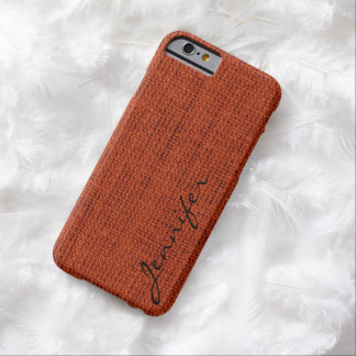 Red-brown Burlap Rustic Linen Monogram Barely There iPhone 6 Case