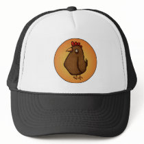 Red Brown Chicken Standing Tall Trucker Hat