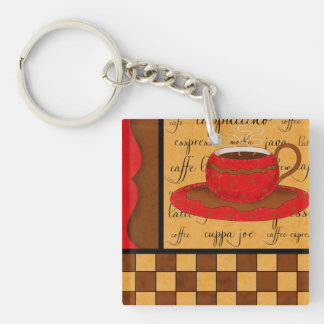 Red Brown Coffee Checkerboard Art Customizable Keychain