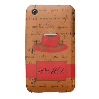 Red Brown Coffee Cup Art Script Words Background iPhone 3 Covers