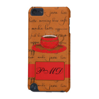 Red Brown Coffee Cup Art Script Words Background iPod Touch (5th Generation) Case