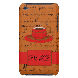 Red Brown Coffee Cup Art Script Words Backgtround Barely There iPod Cover