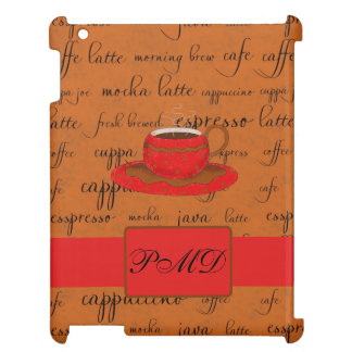 Red Brown Coffee Cup Art Script Words Backgtround Cover For The iPad 2 3 4