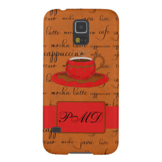 Red Brown Coffee Cup Art Script Words Backgtround Galaxy S5 Case